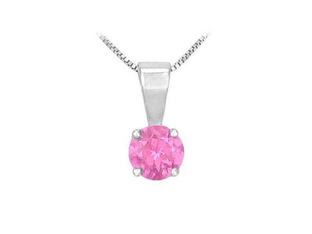 Pink Sapphire Solitaire Pendant  14K White Gold - 1.00 CT TGW
