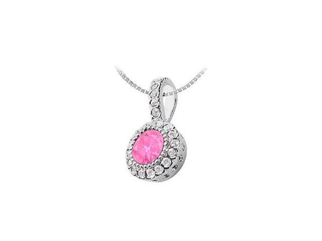 Created Pink Sapphire and Cubic Zirconia Circle Pendant  14K White Gold - 1.25 CT TGW