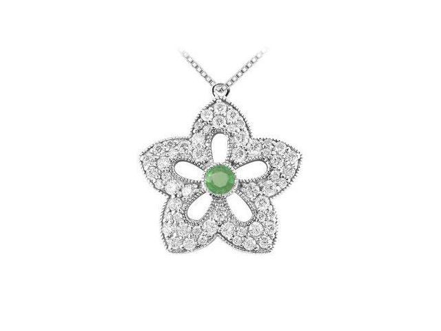 Emerald and Diamond Flower Pendant  14K White Gold - 2.00 CT TGW
