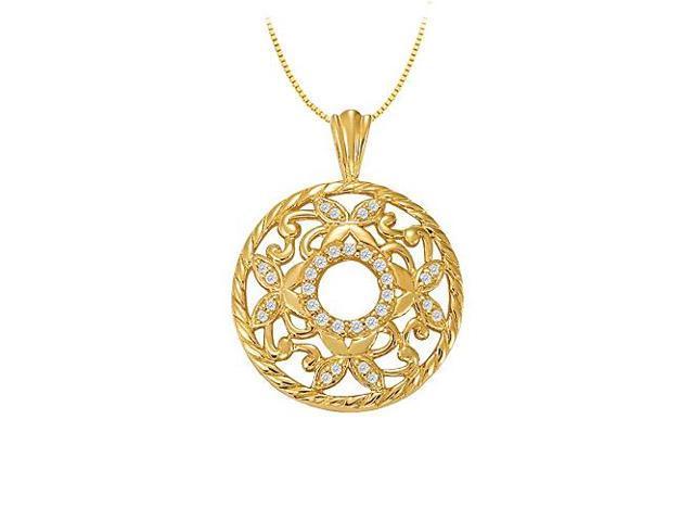 0.25 Carat Total Diamonds in 14K Yellow Gold Fancy Circle Fashion Pendant