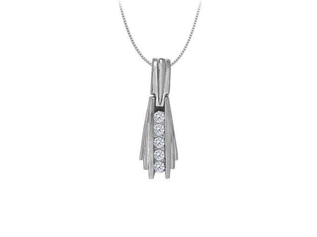 Cubic Zirconia Channel Set Straight Line Pendant in Sterling Silver 0.50 CT TGWJewelry Gift