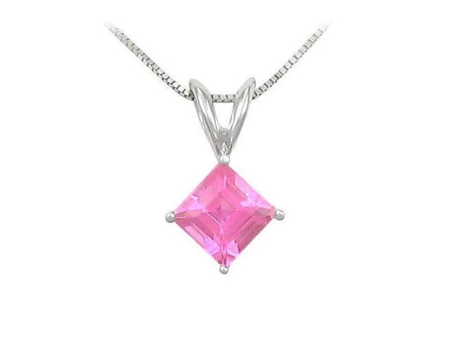 Pink Sapphire Solitaire Pendant  14K White Gold - 1.00 CT TGW
