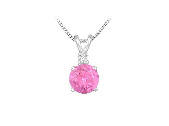 Diamond and Pink Sapphire Solitaire Pendant  14K White Gold - 1.00 CT TGW