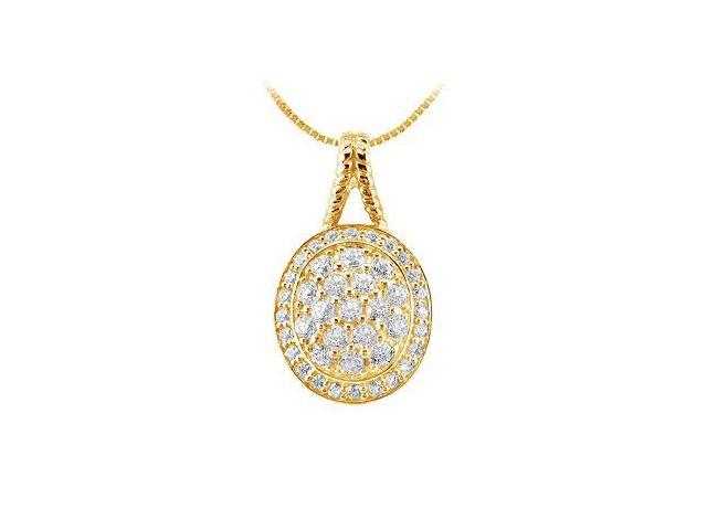 Diamond Circle Pendant  14K Yellow Gold - 1.00 CT Diamonds