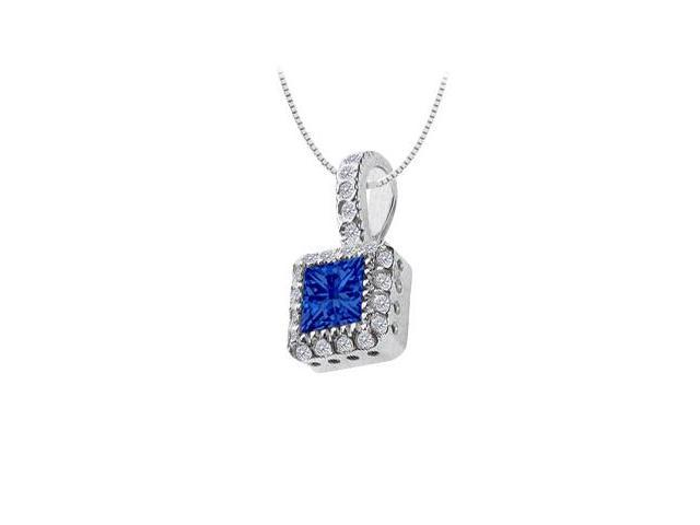 Diffuse Sapphire and Cubic Zirconia Pendant 14K White Gold 0.75 Carat Total Gem Weight