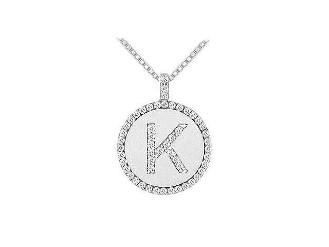 Diamond Initial K Disc Pendant  14K White Gold - 0.55 CT TGW