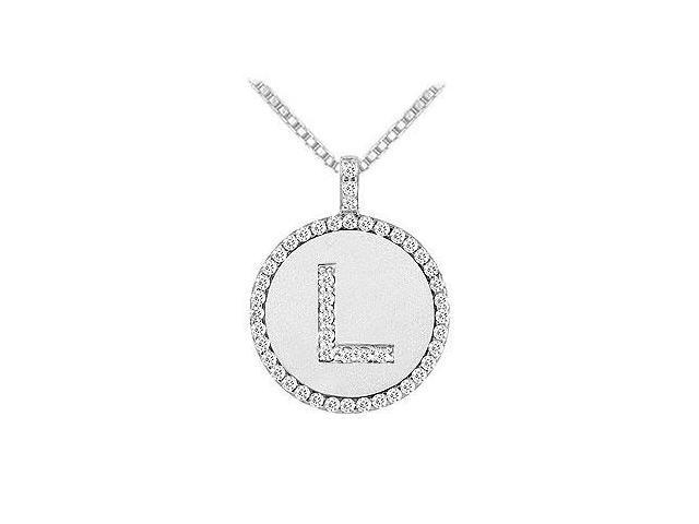 Diamond Initial L Disc Pendant  14K White Gold - 0.50 CT TGW