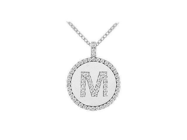 Diamond Initial M Disc Pendant  14K White Gold - 0.65 CT TGW