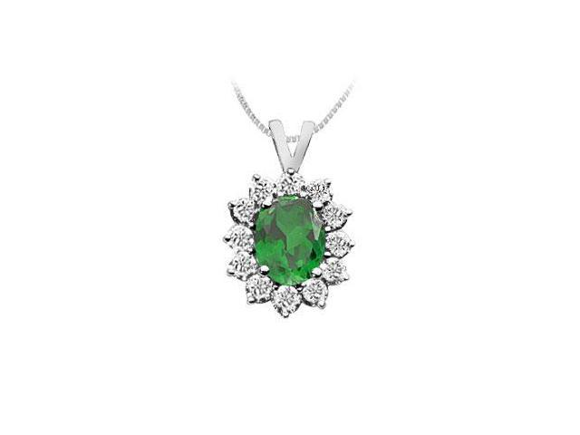 Emerald and Diamond Pendant  14K White Gold - 2.25 CT TGW