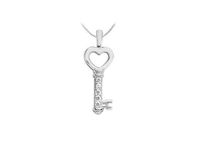Diamond Key Pendant  14K White Gold - 0.25 CT Diamonds