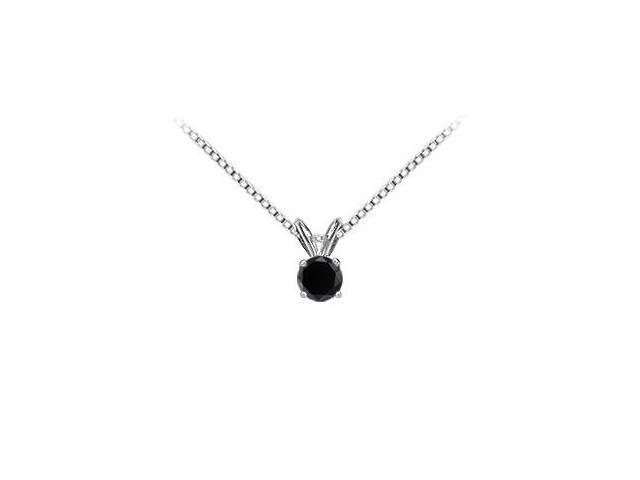14K White Gold Round Prong Set Onyx Solitaire Pendant 1.00 CT TGW.