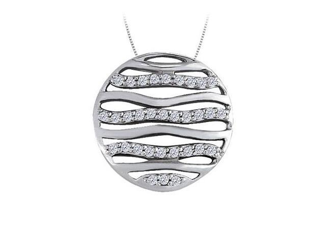 Cubic Zirconia Circle Fashion Pendant in Sterling Silver 0.50 CT TGWJewelry Gift for Women