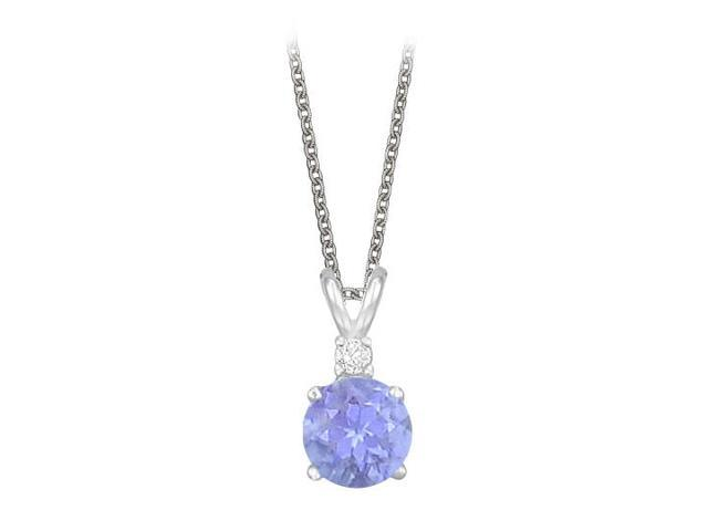 Round Cut Created Tanzanite and Cubic Zirconia Pendant Necklace in Sterling Silver. 1.02.ct.