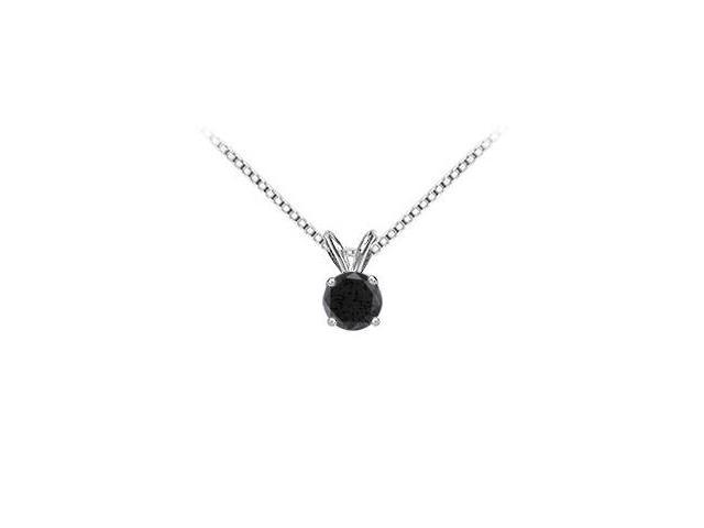 14K White Gold Round Prong Set Onyx Solitaire Pendant 2.00 CT TGW.