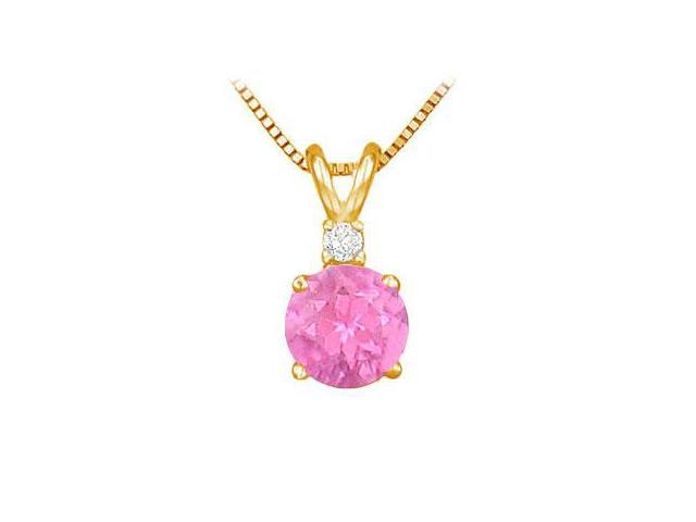 Diamond and Pink Sapphire Solitaire Pendant  14K Yellow Gold - 1.00 CT TGW