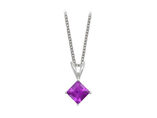Square Cut Amethyst Pendant Necklace in Sterling Silver. 1ct.tw.