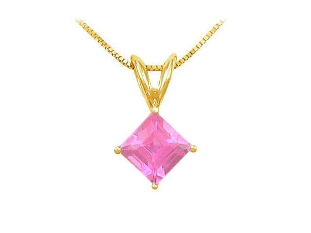 Pink Sapphire Solitaire Pendant  14K Yellow Gold - 1.00 CT TGW