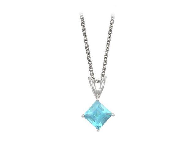 Square Cut Created Aquamarine Pendant Necklace in Sterling Silver. 1ct.tw.