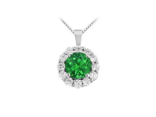 Emerald and Diamond Circle Pendant  14K White Gold - 1.50 CT TGW
