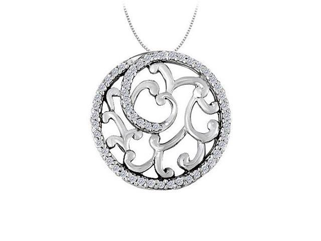 Cubic Zirconia Fancy Circle Fashion Pendant in Sterling Silver 0.50 CT TGWJewelry Gift