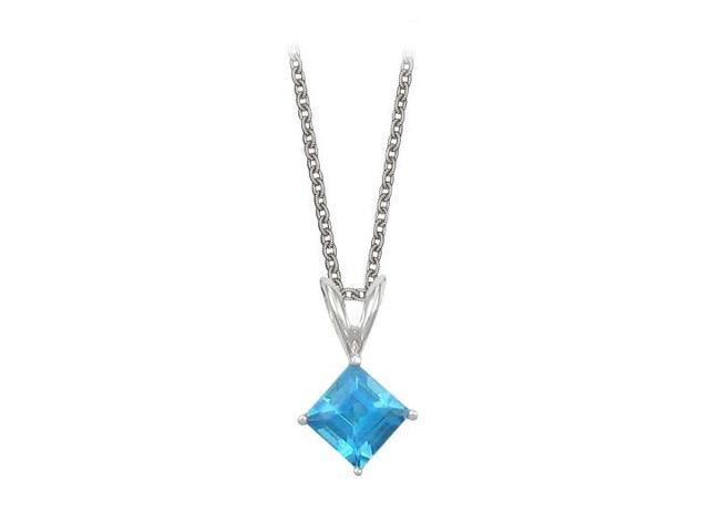 Square Cut Created Blue Topaz Pendant Necklace in Sterling Silver. 1ct.tw.