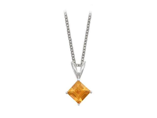 Square Cut Citrine Pendant Necklace in Sterling Silver. 1ct.tw.
