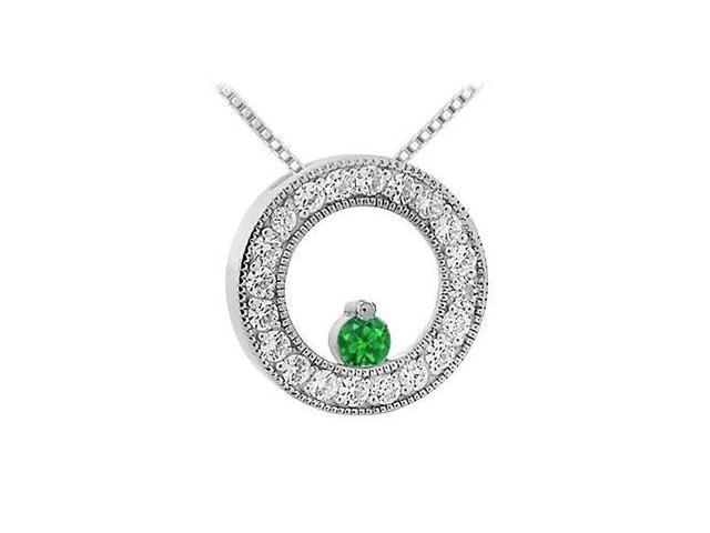 Emerald and Diamond Circle Pendant  14K White Gold - 1.00 CT TGW