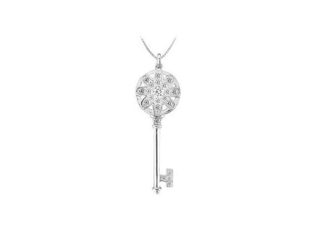 Diamond Flower Key Pendant  14K White Gold - 0.50 CT Diamonds
