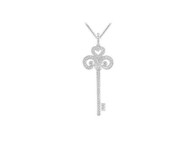 Diamond Key Pendant  14K White Gold - 0.50 CT Diamonds