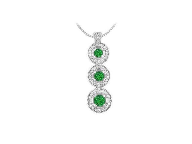 Emerald and Diamond Pendant  14 White Gold - 1.25 CT TGW