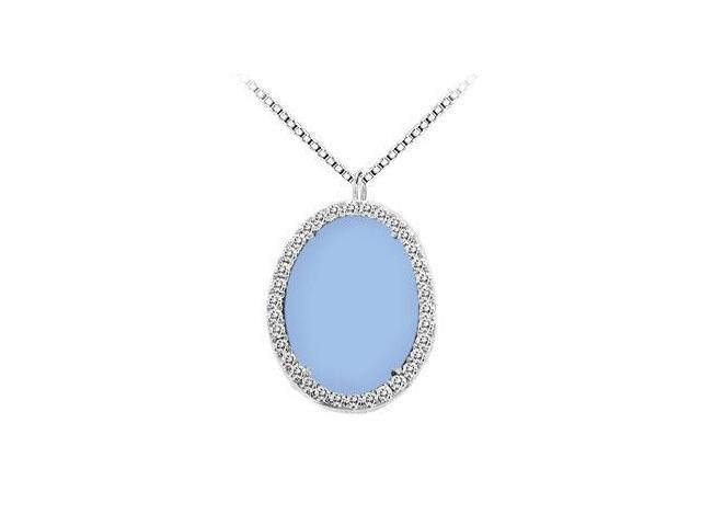 14K White Gold Aqua Chalcedony and Diamond Pendant 16.00 CT TGW