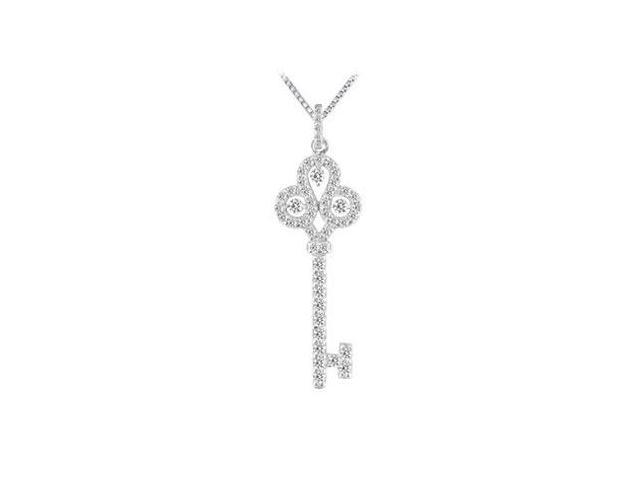 Diamond Key Pendant  14K White Gold - 0.75 CT Diamonds