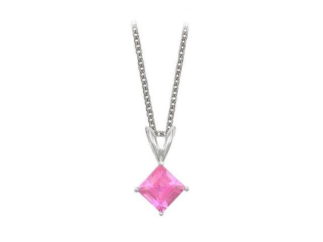 Square Cut Created Pink Topaz Pendant Necklace in Sterling Silver. 1ct.tw.