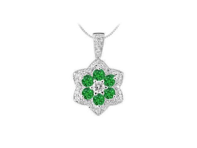 Emerald and Diamond Pendant  14K White Gold - 2.25 CT TGW