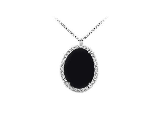 14K White Gold Black Onyx and Diamond Pendant 16.00 CT TGW