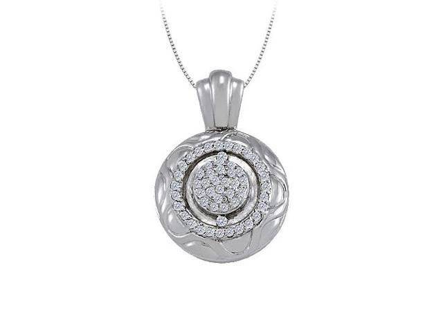 Cubic Zirconia Fancy Circle Fashion Pendant in Sterling Silver 0.25 CT TGWJewelry for Women