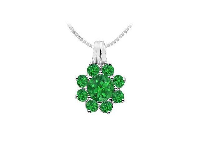 Emerald Flower Pendant  14K White Gold - 2.75 CT TGW