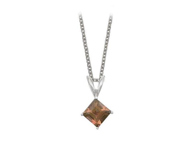 Square Cut Smoky Quartz Pendant Necklace in Sterling Silver. 1ct.tw.