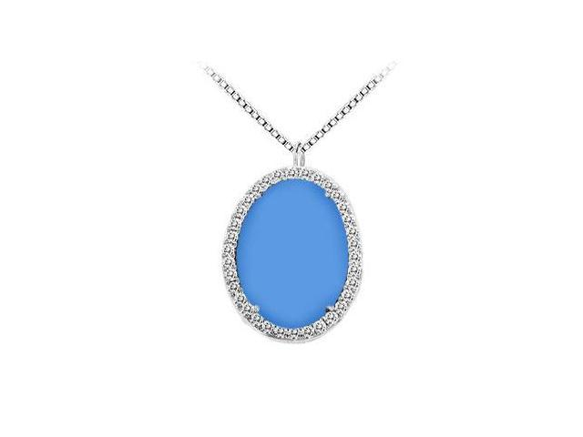 14K White Gold Blue Chalcedony and Diamond Pendant 16.00 CT TGW