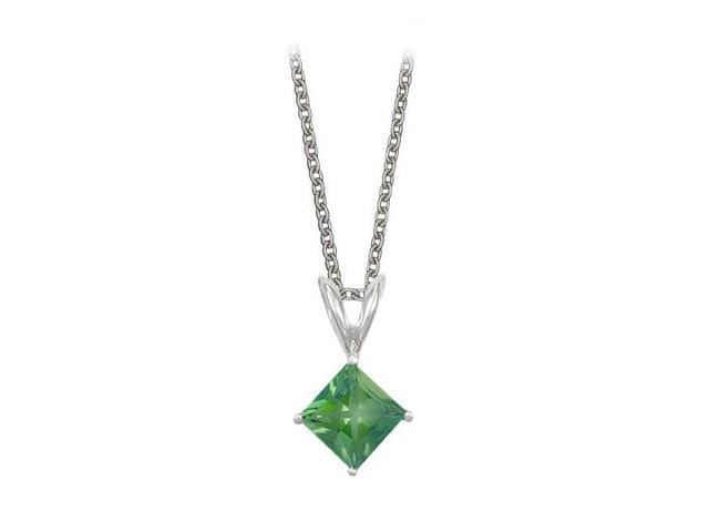 Square Cut Created Emerald Pendant Necklace in Sterling Silver. 1ct.tw.