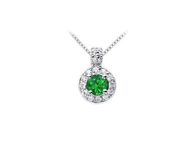 Emerald and Diamond Pendant  14K White Gold - 1.25 CT TGW