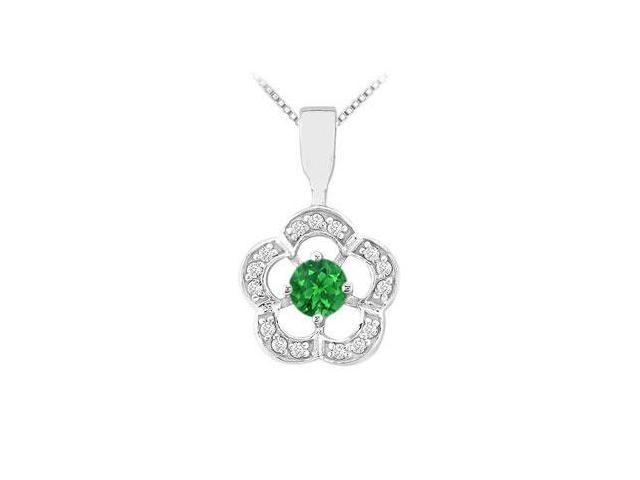 Emerald and Diamond Flower Pendant  14K White Gold - 0.50 CT TGW