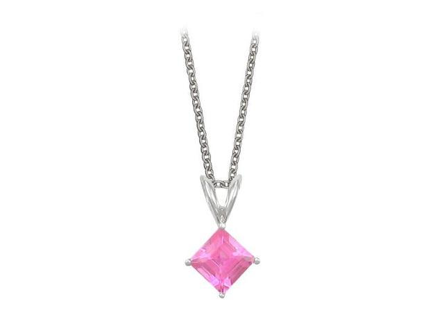 Square Cut Created Pink Sapphire Pendant Necklace in Sterling Silver. 1ct.tw.