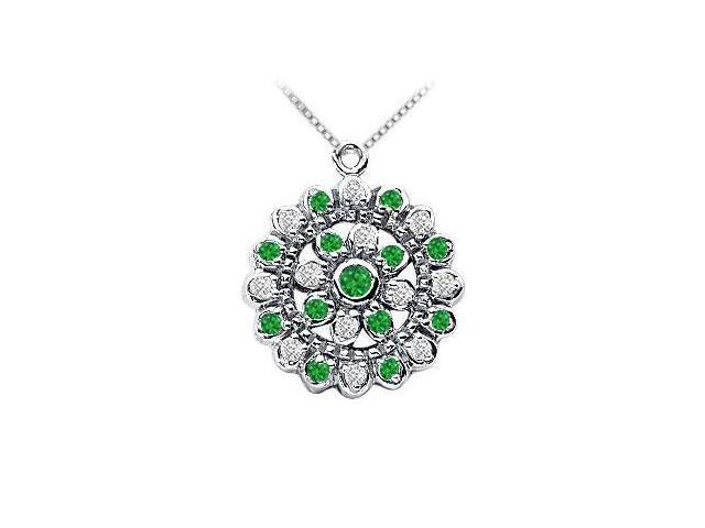 Emerald and Diamond Flower Pendant  14K White Gold - 0.50 CT TGW