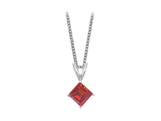 Square Cut Created Ruby Pendant Necklace in Sterling Silver. 1ct.tw.