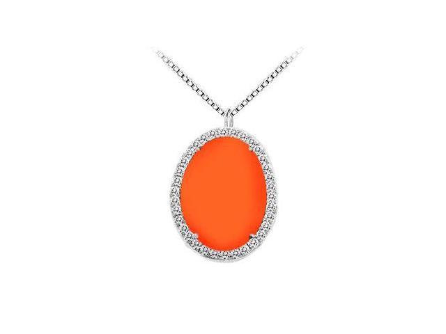14K White Gold Orange Chalcedony and Diamond Pendant 16.00 CT TGW