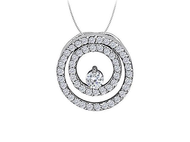Cubic Zirconia Double Circle Pendant in Sterling Silver 0.50 CT TGWJewelry Gift for Women