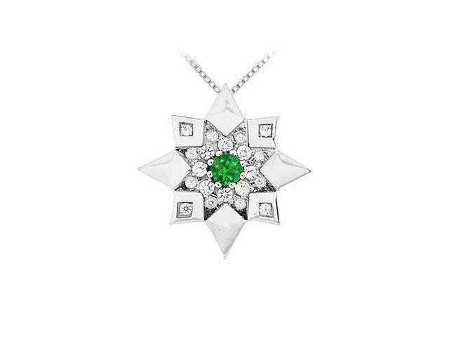 Emerald and Diamond Star Pendant  14K White Gold - 0.66 CT TGW