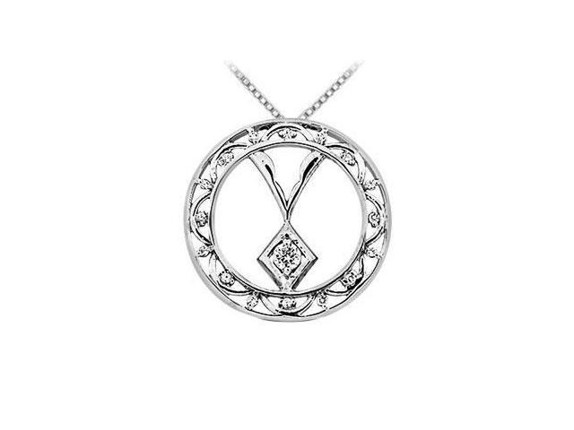 Diamond Circle Pendant  14K White Gold - 0.15 CT Diamonds