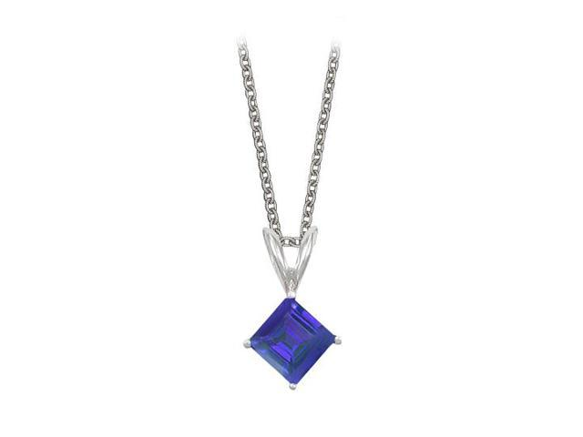 Square Cut Created Sapphire Pendant Necklace in Sterling Silver. 1ct.tw.